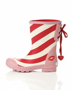flot rød og hvid striber gummistøvle